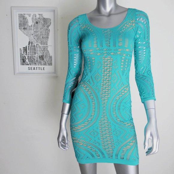 bebe Dresses & Skirts - bebe ∙ boat neck mix stitch bodycon dress